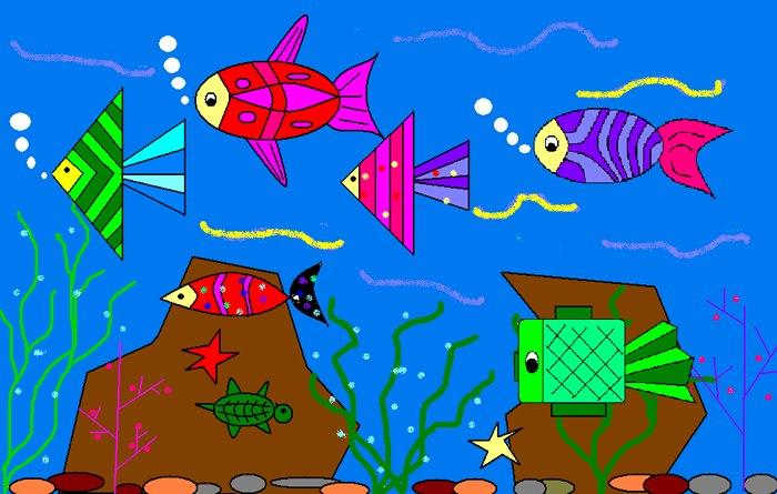 海底世界 17 三年级9班画图作品 北京市海淀区五一小学高清图片